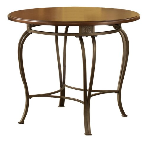 """Hillsdale Furniture Montello 36"""" Round Table in Old Steel - Brown/Gold"""