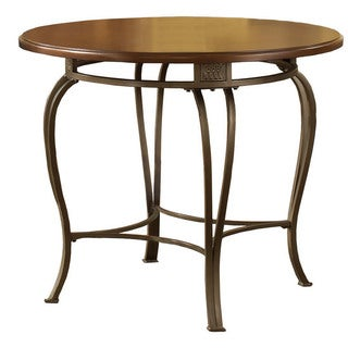 "Hillsdale Furniture Montello 36"" Round Table in Old Steel - Brown/Gold"