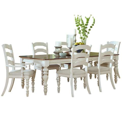 Hillsdale Furniture Pine Island White Dining Set w/ Ladder-Back Chairs (Set of 7)