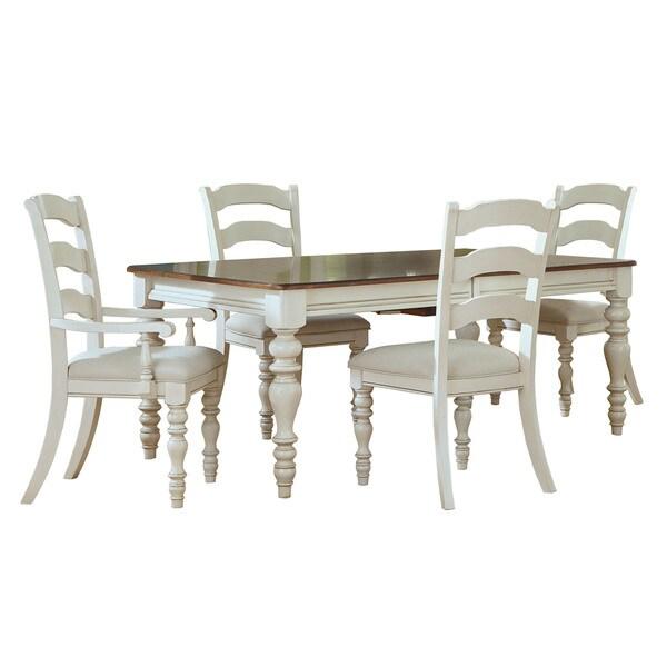 Hillsdale Furniture Pine Island Old-white Finish Ladder-Back Chair Dining Set (5-piece Set)