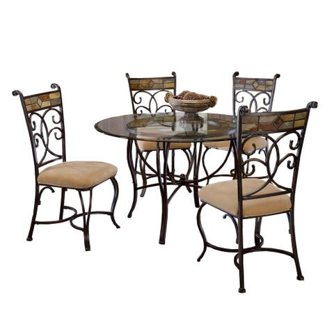 Hillsdale Furniture Pompeii Black and Gold Metal and Glass 5-piece Dining Set