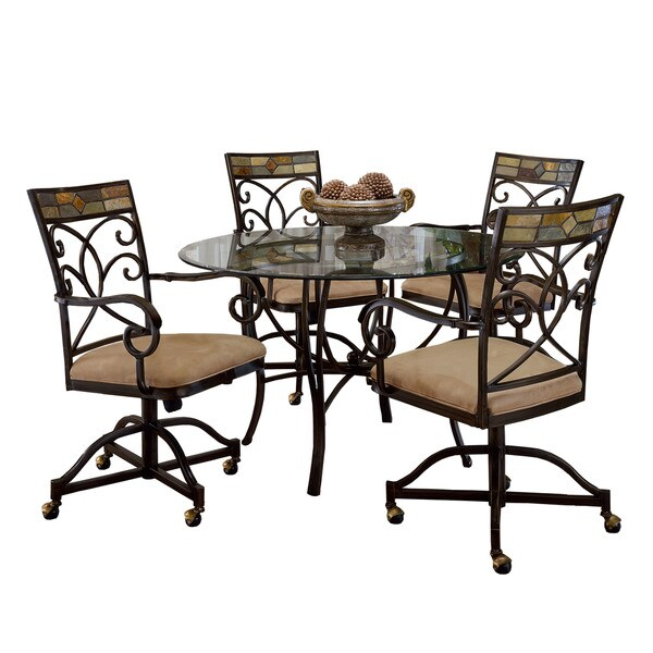 Hillsdale Furniture Pompeii Black Gold/Slate Mosaic Metal 5-piece Dining Set With Caster Chairs