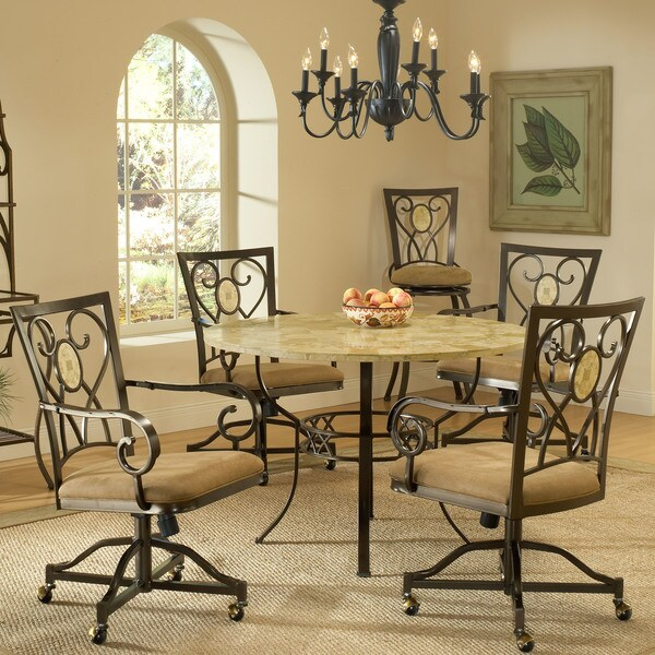 Hillsdale Furniture Brookside 5 Piece Round Dining Set With Oval Back Caster  Chairs