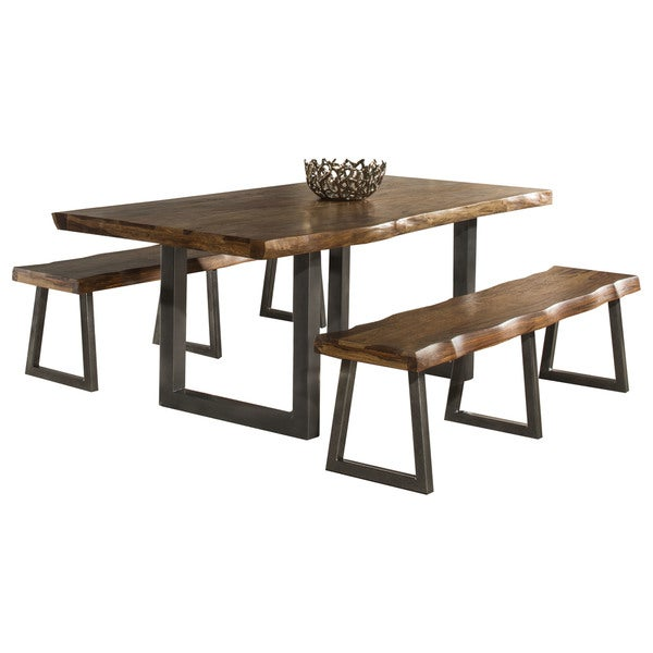 Hillsdale Furniture Emerson Natural Sheesham 3 Piece Rectangular Dining Set  With Two Benches