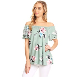 Women's Floral Patern Off Shoulder Tunic Top