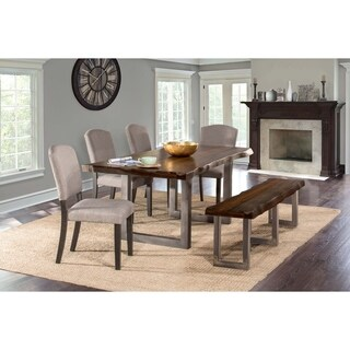Hillsdale Furniture Emerson Grey Sheesham Wood 6-piece Dining Set with 1 Bench and 4 Chairs