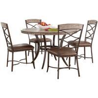 Hillsdale Furniture Emmons Washed Grey Finish Wood 5-piece Round Dining Set