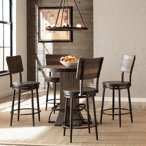 Carbon Loft Roxie Distressed Wood and Metal 5-piece Round Counter-height Set with Swivel Counter Stools