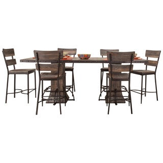 Hillsdale Furniture Jennings Walnut Wood/Brown Metal 7-piece Counter-height Dining Set