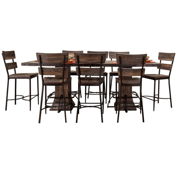Pine Canopy Helena Brown Metal and Wood 9-piece Counter-height Dining Set  sc 1 st  Overstock.com & Pine Canopy Helena Brown Metal and Wood 9-piece Counter-height ...