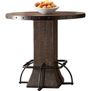 Carbon Loft Leona Walnut Round Counter Height Dining Table