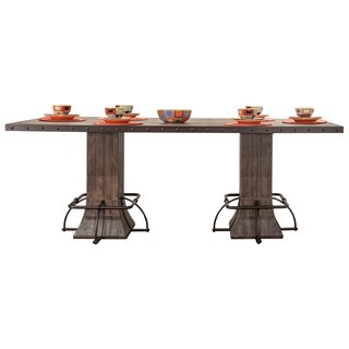 Pine Canopy Mendocino Walnut Wood/Metal Rectangle Counter-height Dining Table