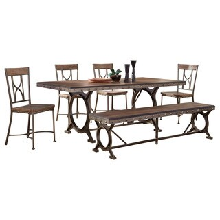 Hillsdale Furniture Paddock Brushed Steel Metal and Distressed Brown Wood 6-piece Rectangle Dining Set