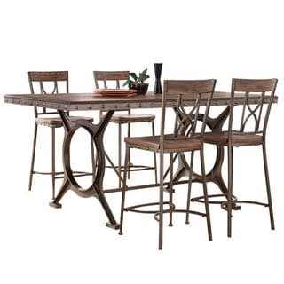 Hillsdale Furniture Paddock Brushed Steel Metal and Distressed Brown Wood 5-piece Counter-height Dining Set