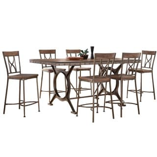 Hillsdale Furniture Paddock Brushed Steel Metal and Distressed Brown Wood 7-piece Counter-height Dining Set
