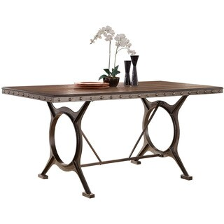 Hillsdale Furniture Paddock Brushed Steel Metal and Wood Dining Table - Brown