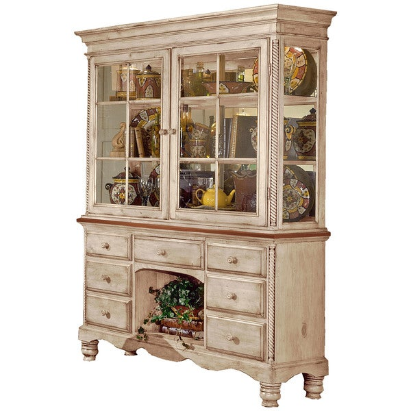 Hillsdale Furniture Wilshire Antique White Finish Wood Buffet and Hutch - Hillsdale Furniture Wilshire Antique White Finish Wood Buffet And