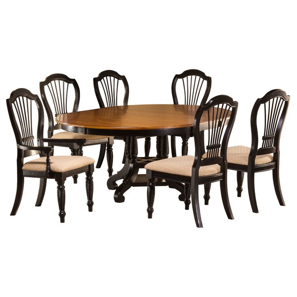 Hilale Furniture Wilshire Rubbed Black 7 Piece Round Dining Set
