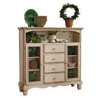 Hillsdale Furniture Wilshire Four Drawer Baker's Cabinet in Antique White Finish