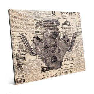 Engine on Vintage Newsprint Wall Art on Acrylic