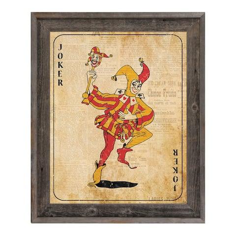 Vintage Joker Playing Card Framed Canvas Wall Art