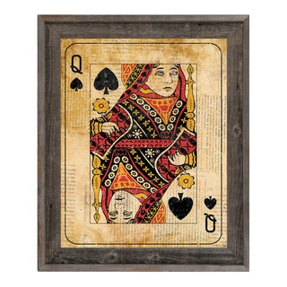 Vintage Queen Playing Card Framed Canvas Wall Art
