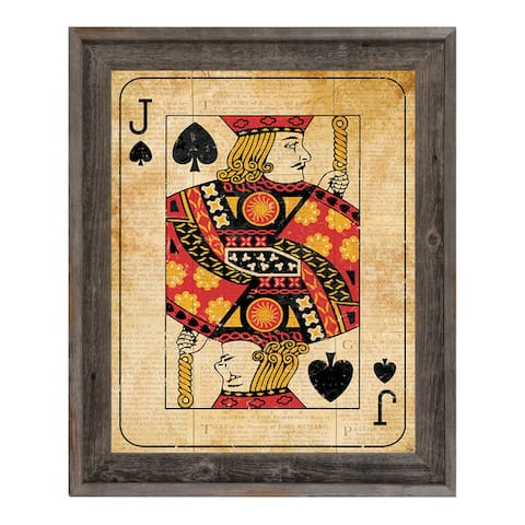 Vintage Jack Playing Card Framed Canvas Wall Art