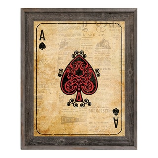 Shop Vintage Ace Playing Card Framed Canvas Wall Art On
