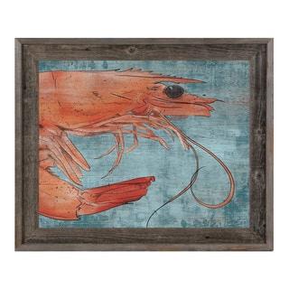 Big Shrimp on Blue Framed Canvas Wall Art