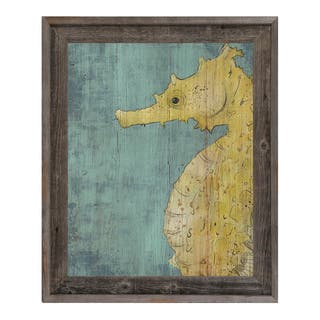 Big Seahorse in Yellow Framed Canvas Wall Art