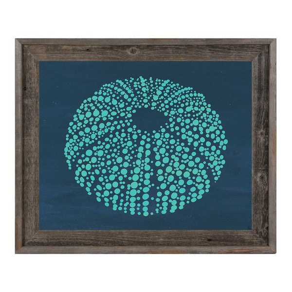 Urchin Dots in Teal Blue Framed Canvas Wall Art