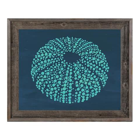 Urchin Dots in Teal Blue Framed Canvas Wall Art