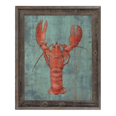 Lobster in Red Framed Canvas Wall Art