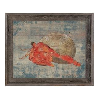 Hermit Crab on Blue Framed Canvas Wall Art