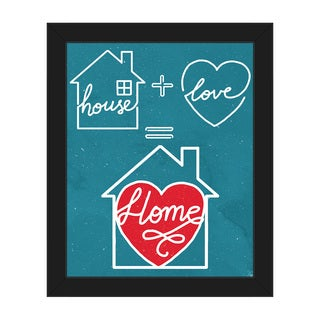 Home Equation on Teal Framed Canvas Wall Art Print