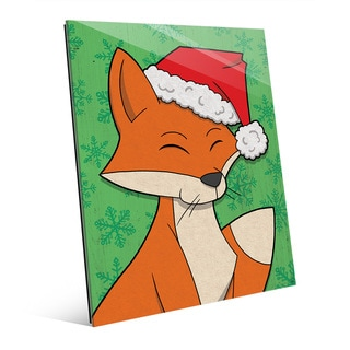 Christmas Fox with Santa Hat on Green Wall Art on Acrylic