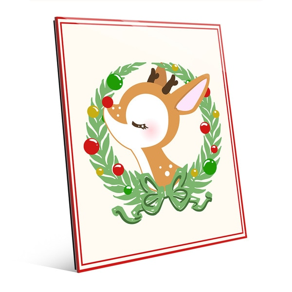 Serene Rudolph with Ornament Wreath Wall Art on Acrylic