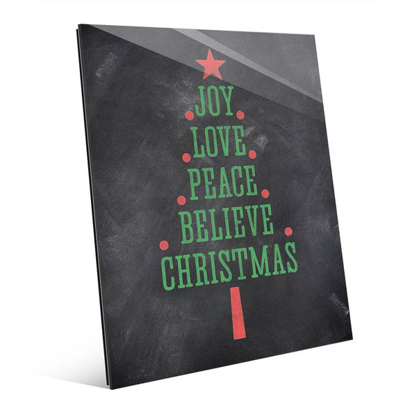 The Joys Of Christmas.The Joys Of Christmas Tree Green Red Wall Art On Acrylic