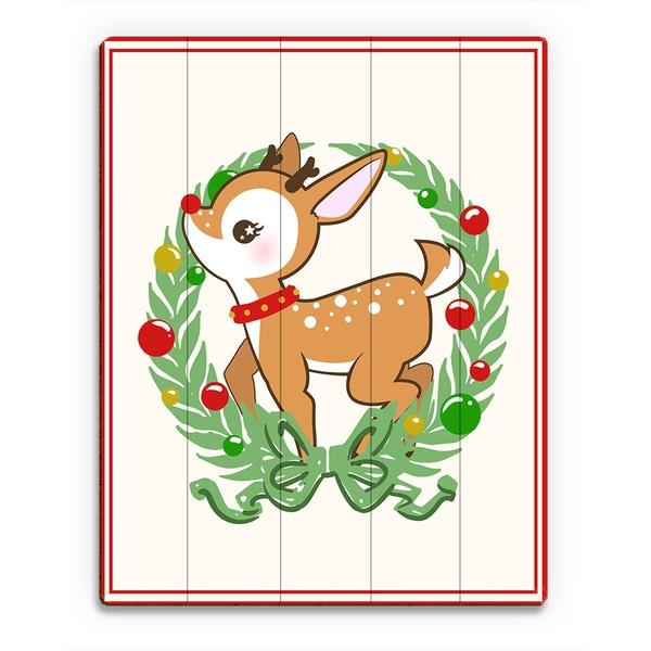 Deerest Rudolph Ornament Wreath with Border Wall Art Print on Wood