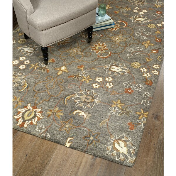 Hand-Tufted Christopher Tabriz Pewter Green Wool Rug - 10' x 14'
