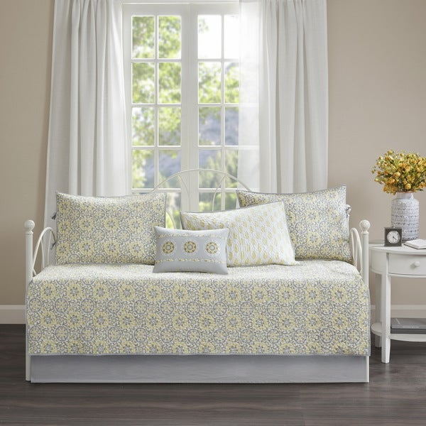 Madison Park Cosette Yellow Reversible 6 Piece Cotton Daybed Set