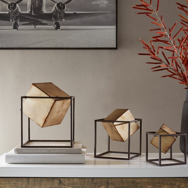 Shop Madison Park Asher Black/ Gold Cube Decor Set of 3 - Free ...