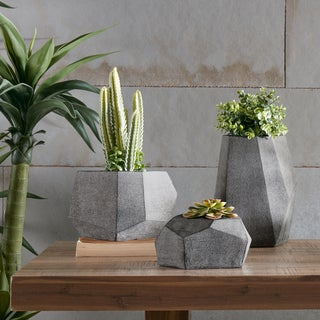 Havenside Home Belkofski Geo Grey Planters (Set of 3)