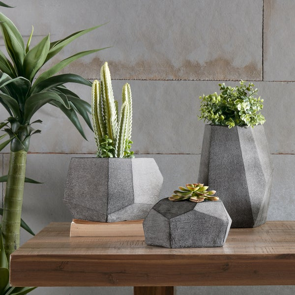 INK+IVY Geo Grey Planters (Set of 3)