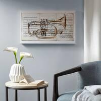 Madison Park Brass Trumpet Grey Paint Embellished Canvas
