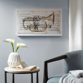 Madison Park Brass Trumpet Grey Paint Embellished Canvas