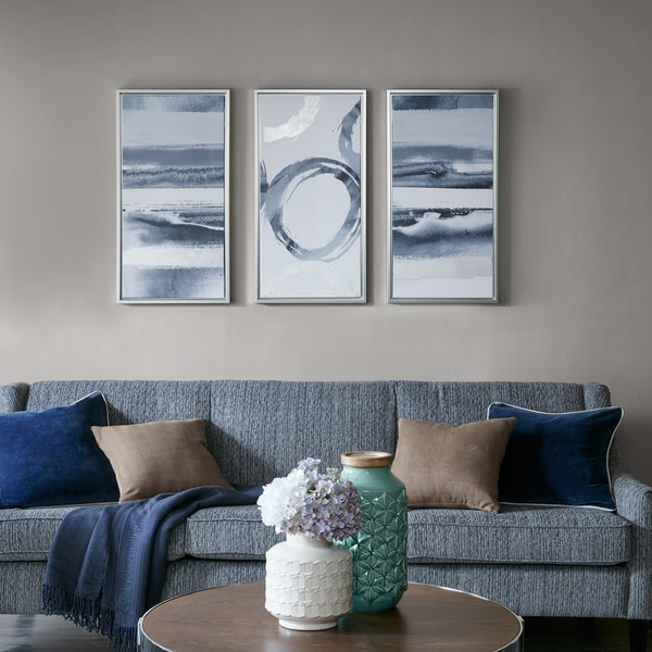 Madison Park Grey Surrounding Printed Frame Canvas with Gel Coat and Silver Foil 3 Piece Set