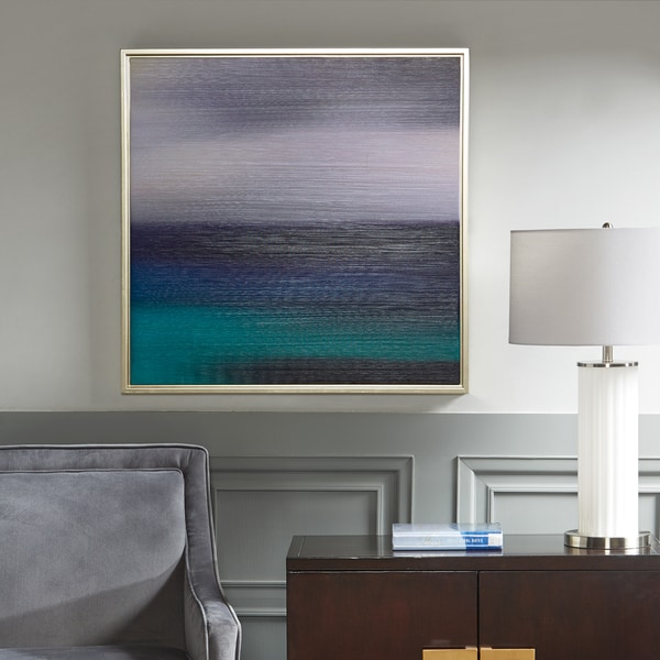 Madison Park Signature Blue Seascape Heavy Brush Gel Coat with Silver Framed. Opens flyout.