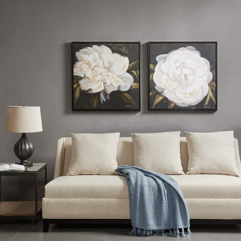 Madison Park Signature White Camellia Gel Coat Canvas With Bronze Frame 2 Piece Set
