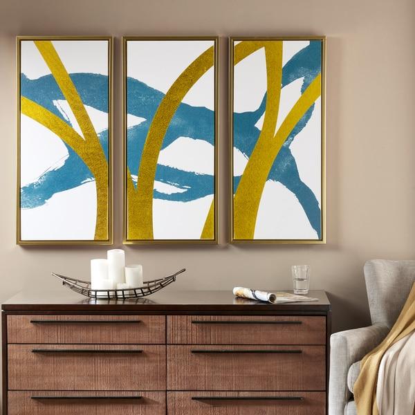 INK+IVY Vibrant Pulse Blue Gold Foil With Gold Frame 3 Piece Set